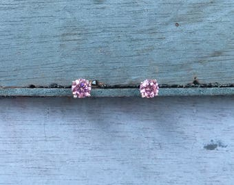 Pink Swarovski Crystal Sterling Silver Post Stud Earrings 1g