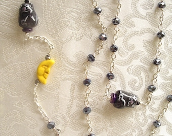Little Black Cats with a Crescent Moon Anglican Rosary