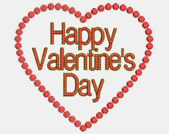 Happy Valentine's Day Embroidery Designs - Instant Download Applique + Filled Stitches Design 959