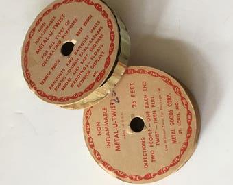 2 Metal Foil Aluminum Metal Trim Tinsel 2 Spools  Vintage 50s Made in St Louis MO