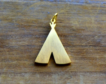 Small Teepee Silhouette Charm Brushed 24k Gold Plated OR Silver Stainless Steel Layered Charm Minimal Jewelry Pendant (AQ012)