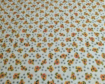Flowers on Beige Cotton Fabric
