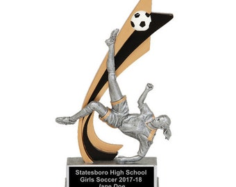 Live Action Female Soccer Resin Award - Soccer Trophy - Free Engraving - Individual Awards - Tournament Awards - Custom Engraving