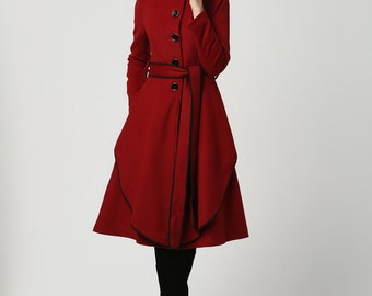 Dark red coat, stand up collar , wool coat, winter coat for women, plus size coat, midi coat, buttoned coat, mod clothing, gift ideas (1111)