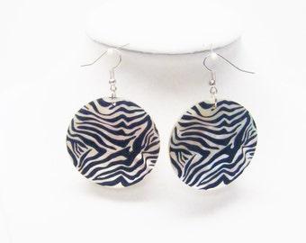 Large Round Black & Silver Swirl Shell Earrings