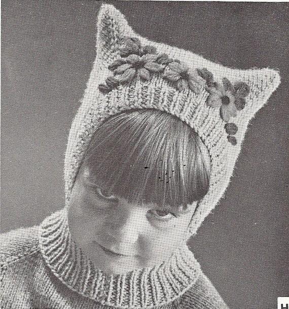 Vintage Pussy Cat Child Hat Balaclava Pattern Pdf Pattern