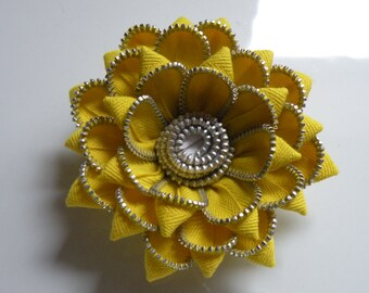 Yellow Recycled Zipper Flower Brooch or Hair Clip