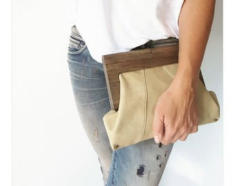 Sand Leather and Timber Clutch
