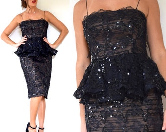 Vintage 80s does 60s Black Sequin Peplum Waist Party Dress (size small, medium)