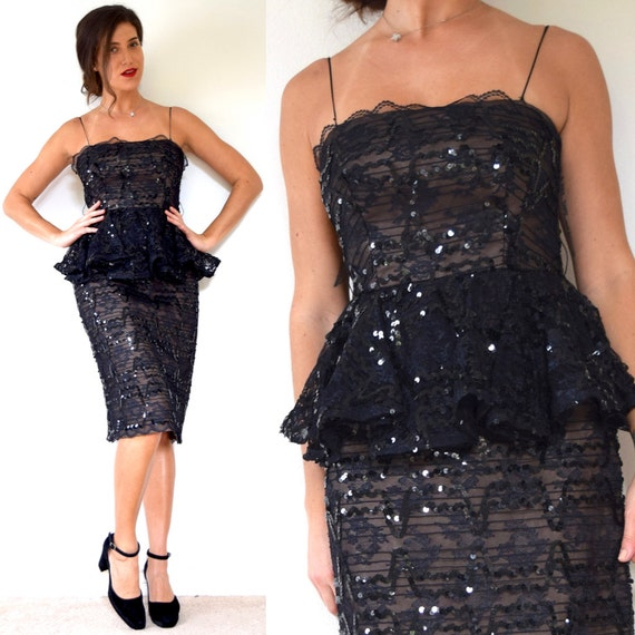 Vintage 80s does 60s Black Sequin Peplum Waist Party Dress (size small, medium)