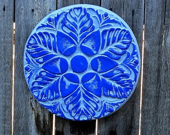 Blue floral concrete wall hanging, stepping stone, yard art, garden decor, fence art