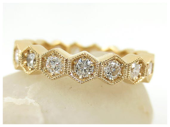 rings bands gold wedding eternity t yellow band in diamond v rose c w zales