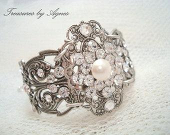 Rhinestone Wedding bracelet, Bridal bracelet, Wedding jewelry, Antique silver bracelet, Cuff bracelet, Swarovski crystal bracelet, Filigree