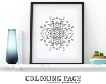 Floral Mandala Coloring Page Printable Pattern Adult Coloring Book Adult Anti Stress Art Therapy Instant Download Zen Digital Printable Art