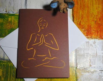 Meditation Greeting Card, Namaste Card, Lotus Pose Card, Relaxation Card, Cards for Yoga Lovers, Peaceful Cards
