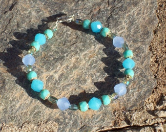 Blue, Turquoise and Aqua Glass and Crystal Bracelet