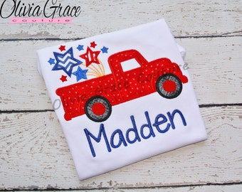 Boys 4th of July Shirt, Truck with Firework, Patriotic Truck Shirt, Boys summer shirt, Embroidered Applique Shirt or Bodysuit