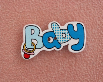button wood baby blue writing