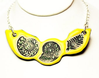 Yellow Fossil Sparkle Surly Ceramic Necklace With Rhinestone Chain