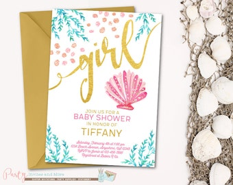 Under the sea baby shower invitation beach baby shower under the sea baby shower invitation beach baby shower invitation seashells baby shower invitation filmwisefo Image collections