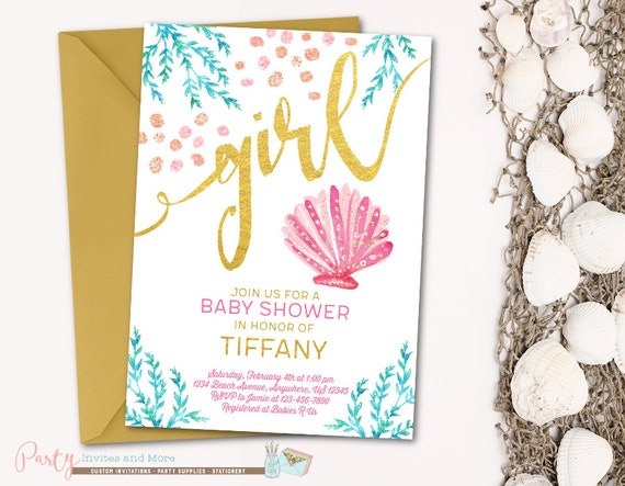 Under the sea baby shower invitation beach baby shower like this item filmwisefo Image collections