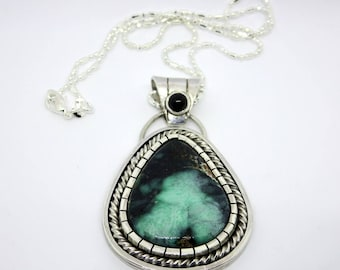 Variscite Space Nebula Necklace. Apache Variscite and Sterling Silver Necklace.  Statement necklace. Large Pendant
