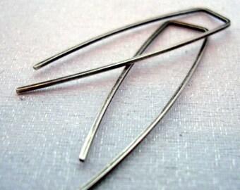 Minimalist Black SILVER HOOPS - Oxidized Sterling Modern Earrings - Geometric hoops - Blackened Silver earrings - Everyday earrings