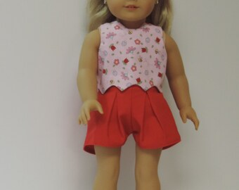 American made reversible top shorts headband for girl dolls