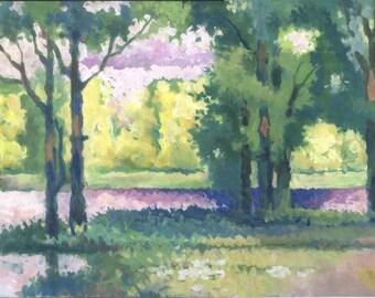 Impressionist art. Original painting. Gouache on paper. 58 x 36 cm.