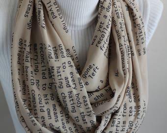 Jane Austen Scarf Emma Book Infinity Scarf Literary Quote Gift Jane Austen Library Scarf Writer Gift Ideas for Women