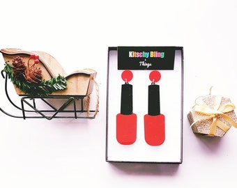 Nail Varnish Earrings  - nail varnish - red nails - acrylic earrings - perspex earrings - laser cut