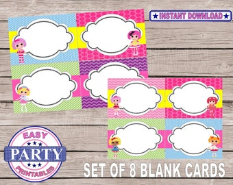 SALE  Lalaloopsy set blank cards, lalaloopsy party, party printables, instant downloads, girls birthday printables, DIY, print out as many