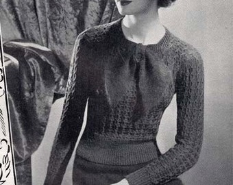 """1930's Stitchcraft November 1938 PDF Knitting Pattern - Vintage Jumper with Large Bow - Bow Jumper - Bust 32-34"""""""