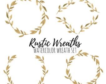 Rustic Clip Art - Floral Wreath - Watercolor Clip Art - Wedding Clip Art - Rustic Wedding - Commercial Use