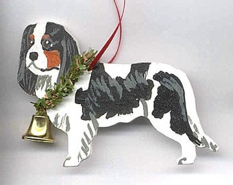 Hand-Painted CAVALIER KING CHARLES Tri Color Wood Christmas Ornament...Artist Original, Christmas Tree Ornament Decoration