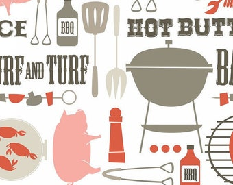 Cotton fabric American BBQ - Blend Fabrics designer Maude Asbury - Barbecue in red - by 50 cm (110 x)