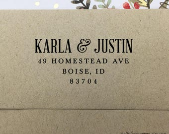 Personalized Return Address Stamp, Custom Address Stamp, Self Inking Address Stamp, Wooden Stamp, Rubber Stamp, Wedding Address Stamp
