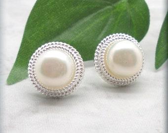 White Button Pearl Earrings, Post Earrings, Sterling Silver, Stud Earrings, Bridal Earrings, Wedding Jewelry, Cultured Pearl Earrings