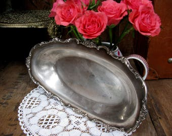 Vintage Silver Tray, Silver Tray, Oval Silver Tray, Silver Plated Tray, Serving Tray, Silver Server, Silver Platter, Silver Dish, 1950s