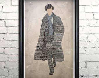 "Sherlock word art print - 11x17"" FRAMED"