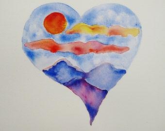 Heart watercolor painting, original watercolor painting heart landscape