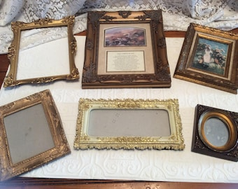Vintage Collection Of 6 Decorative Gold Tones Frames / Hangers