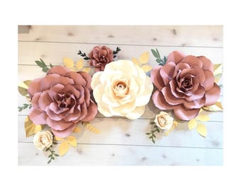 Dusty Rose and Cream roses set