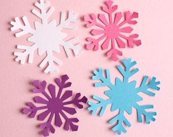Large Snowflake Die Cuts, Frozen Party, Frozen Snowflakes, Confetti, Christmas, Birthday, Party Decor, Pink, White, Purple Blue Snowflake