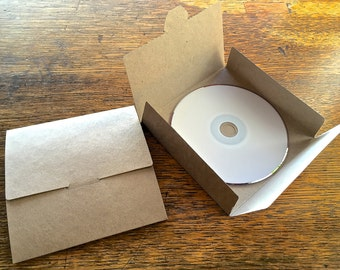 10 No Glue Recycled Kraft Card CD DVD Sleeve/Wallet/Cover Unbranded/Blank.