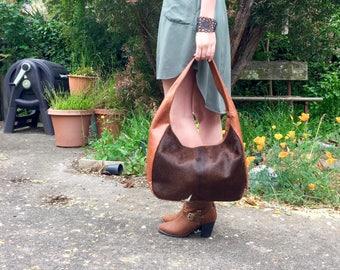 Cowhide Bag, Leather Bag, Slouch Bag, Brown Cowhide Bag, Cowfur Bag, Genuine Leather Bag called Beyonce Burnt Caramel. Wholesale Bag