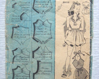 vintage French BATHING SUIT sewing pattern