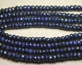 14 Inch Full Strand,Natural BLUE SAPPHIRE Faceted Rondelles Beads,4-5mm