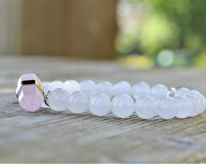 Clear quartz gemstone bracelet with rose quartz pendant - beach jewellery - healing crystals - heart chakra bracelet - love jewellery