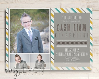 2018 Graduation - Cash Baptism Invitation, LDS Baptism Announcement, Digital, Printable, Trendy